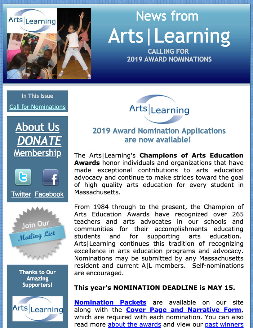 Arts Learning Newsletter